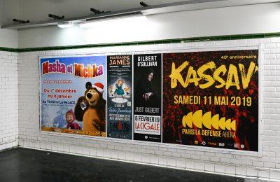 Affichage métro : grand couloir panorama