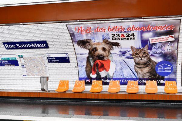 FONDATION ASSISTANCE AUX ANIMAUX : affichage métro 4x3 et client institutionnel